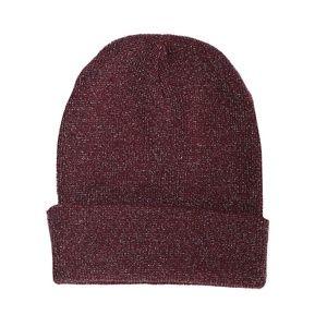Maroon Red Metallic Knit Beanie Hat